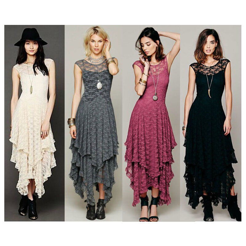 a1bb0b3202fd1 US $20.63 |Boho hippie V back dress Asymmetrical high low embroidery lace  maxi dresses ruffled long tank dress FS0177-in Dresses from Women's  Clothing ...