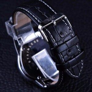 Image 4 - Jaragar sport racing design triângulo geométrico piloto couro genuíno masculino relógio mecânico topo da marca de luxo relógio de pulso automático