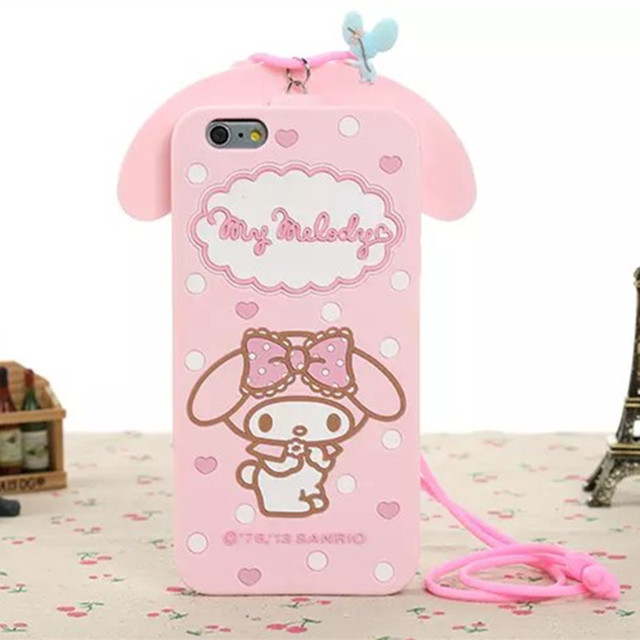 new arrival 1e153 61cc1 For Apple Iphone 7 7 Plus Phone Cases 3D Cartoon My Melody Bow Silicon Case  Cover With Strap Fundas Coque Capa on Aliexpress.com | Alibaba Group