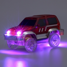 New LED Racing Car Toys Mini DIY Assemble Race Track Cars Light Up Electronics Car for
