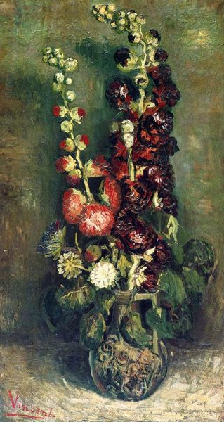 Vase of Hollyhocks by Van Gogh painting flowers canvas wall art reproduction pictures for living room wall decoration No FrameVase of Hollyhocks by Van Gogh painting flowers canvas wall art reproduction pictures for living room wall decoration No Frame