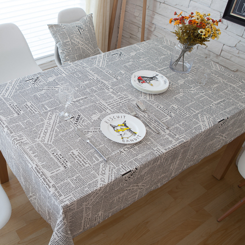 Simanfei 2017 Home Decors European Style English Words Table Cloth Coffee  Newspaper Design Table Cover Black White Vintage Table In Tablecloths From  Home ...