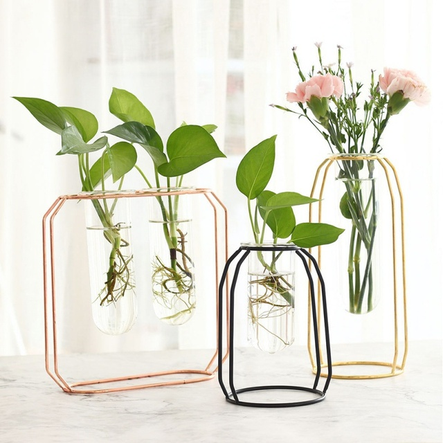 Affordable Lluxury 1Set Nordic Style Glass Iron Art Vase Rose Gold Ceometric Shape Flowerpot Home Wedding Decoration Accessories 4