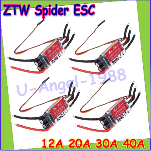 Free shipping+ 4pcs/lot ZTW Spider Series 3-6S 12A 20A 30A 40A 50A 60A OPTO ESC -SimonK for Multi-Rotor Aircraft