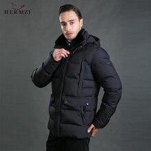 HERMZI 2019 Men Winter Jacket Cotton Padded Coat Parka Hombre Puffer Rex Rabbit Fur European Size 4XL