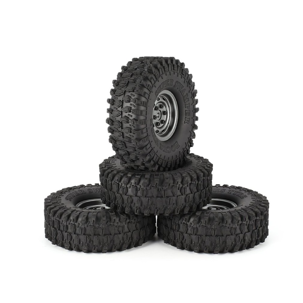 4Pcs 1.9 Inch 120mm Rubber Tires Tire with Metal Wheel Rim Set for 1/10 Traxxas TRX-4 SCX10 RC4 D90 RC Crawler Car Part 1 10 rc crawler 1 9 rubber tires