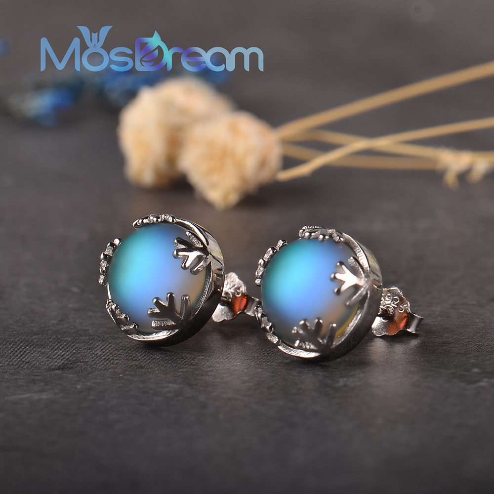 Moonlight Ladies Fashion Aurora Borealis Earrings s925 Silver Stud Elegant Jewelry Birthdays Romatic Gift for Women(China)