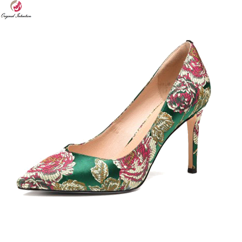 Original Intention 2018 New Fashion Women Pumps Pointed Toe Thin High Heels Pumps Nice Black Green Shoes Woman US Size 4-8.5 bowknot pointed toe women pumps flock leather woman thin high heels wedding shoes 2017 new fashion shoes plus size 41 42