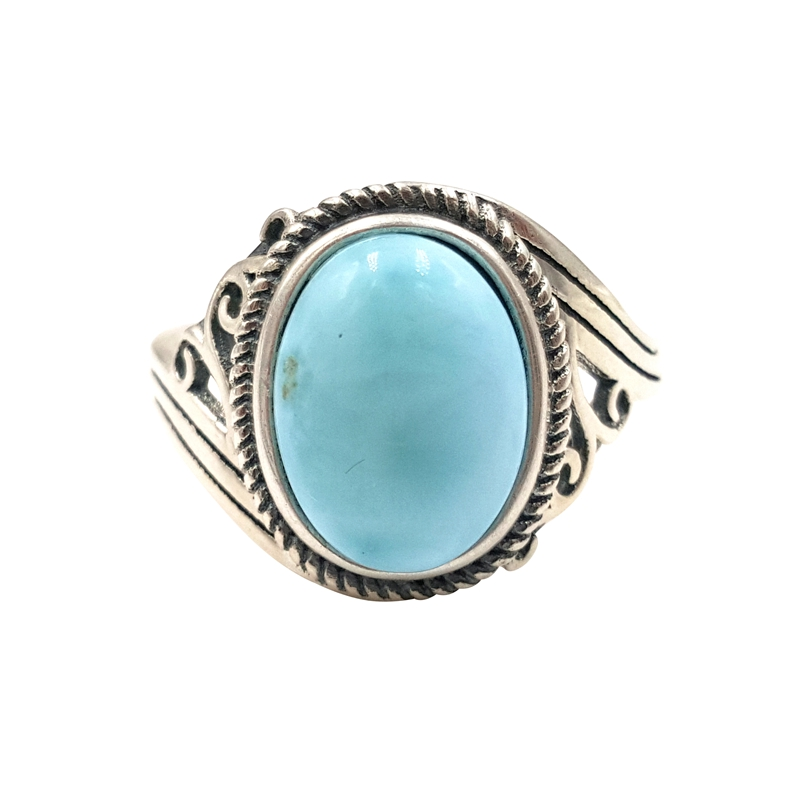 LiiJi Unique Natural Caribbean Blue Larimar 925 Sterling Silver Oval Cabochon Shape Vintage Ring Resizable both men and women