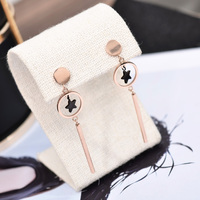YUN RUO Fashion European Style Rose Gold Color Geometric Star Long Stud Earring For Woman 316
