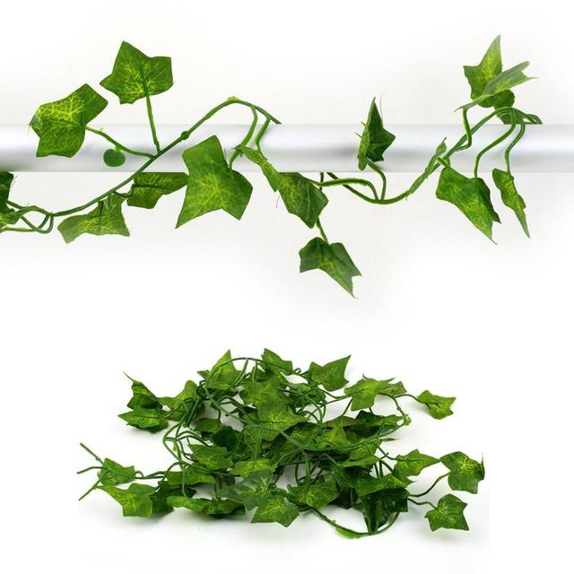 2m Long Green Silk Artificial Vine Rattan Decorative Fake Artificial Ivy Creepers Fake Plants For Home Party Decoration