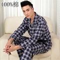 Пижамы Мужчины Весной И Осенью Пижамы Мужчин Пижамы Тканые Хлопка Пижамы С Длинными рукавами Плед Пижамы Мужчины Lounge Пижамы установить 3XL