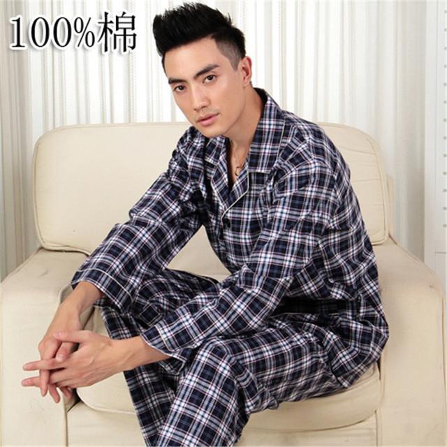 Pijamas de Los Hombres de Primavera Y Otoño ropa de Dormir de Los Hombres Pijamas De Algodón Pijamas Ropa de Dormir A Cuadros de manga Larga Pijama conjunto de Salón de Los Hombres 3XL