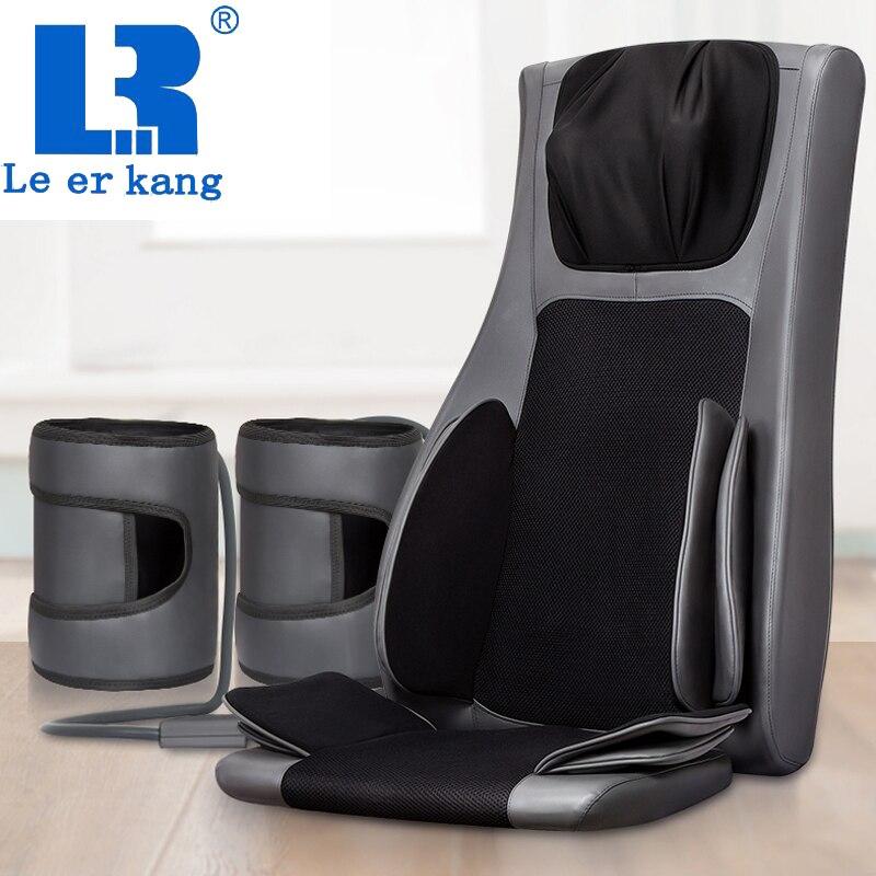 LEK 909A 4D cadeira para trás almofada de massagem aquecida massagem almofada de ar colchão de acupressão Vibração Shiatsu massager do corpo