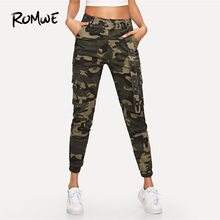 ROMWE Camouflage Pocket Belted Pants Womens Autumn Women Fashion Clothing Bottoms Female Spring Casual Zipper Fly Trousers