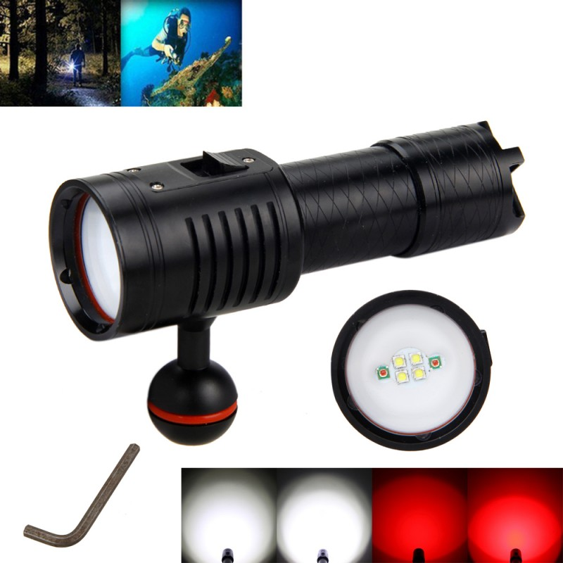 Powerful Lumens White+Red Light color Diving Flashlight LED Torch Underwater 100M Video Camera Photography Lamp for 18650