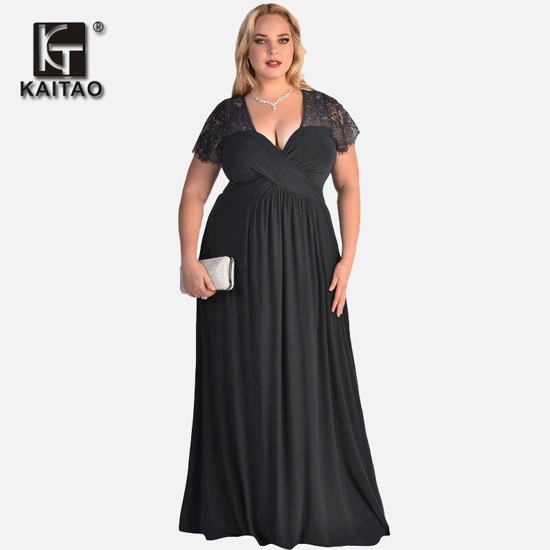 KAITAO 2017 capodanno donne di grandi dimensioni vestito vestito Summer  Party abiti per le donne obese tuniche Allentato abito di pizzo nero è  lunga in ... 51827667f4a