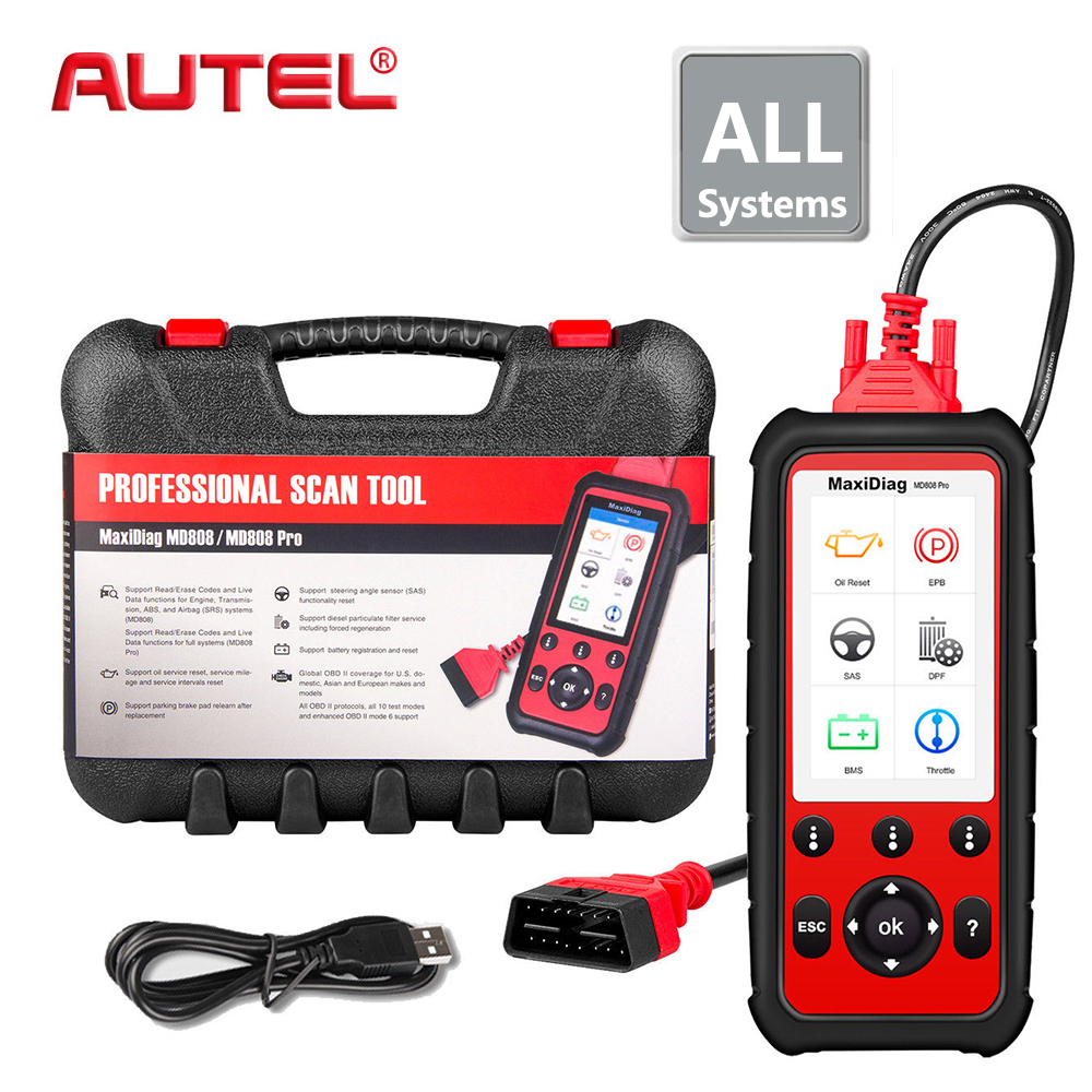 Full System Car Diagnsotic Tool Autel Maxidiag MD808 PRO OBD2 OBD support BMS/Oil Reset/ SRS/EPB/DPF Best Handheld Auto Scanner image