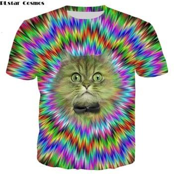 PLstar Cosmos Drop shipping 2018 summer New Fashion T-shirt Psychedelic tshirt Fun cat 3d Print Mens Womens Casual t shirt