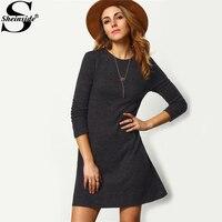 Sheinside Crew Neck Casual Sweater Dress Women 2017 Autumn Grey Long Sleeve Shift Dresses Women Basic