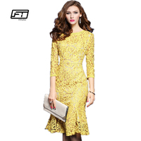 Fitaylor 2017 New Spring Lace Three Quarter Sleeve Slim Fishtail Party Dress Woman