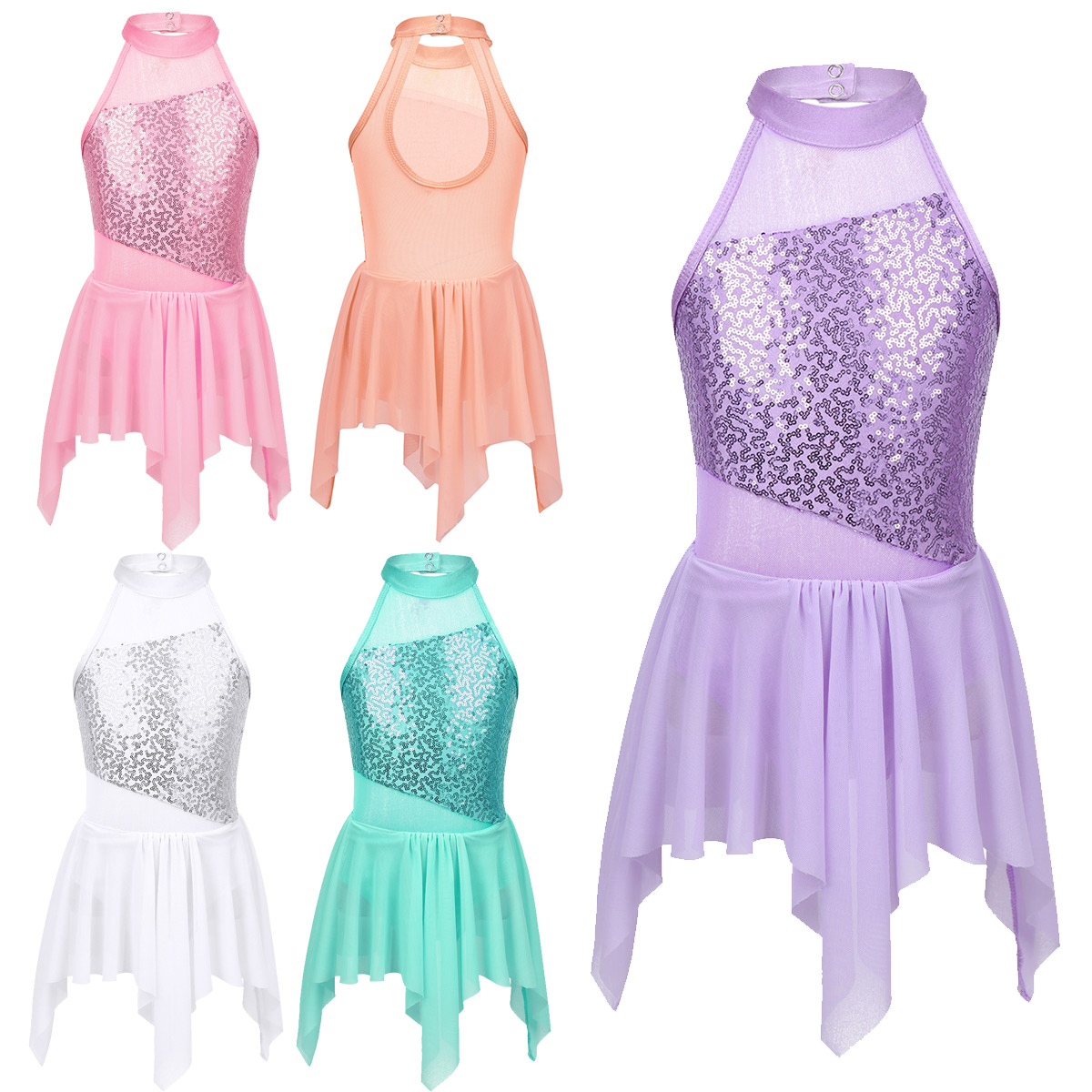 iixpin Kids Girls Sequins Figure Ice Skating Dance Tutu Dress Stage Performance Mesh Skirt with Hair Clips Set
