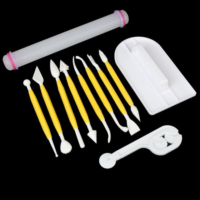 11 pcs Cake Fondant Gumpaste Decorating Tools Modeling Tools Set + Fondant Smoother + Fondant cutter+ Rolling Pin FG
