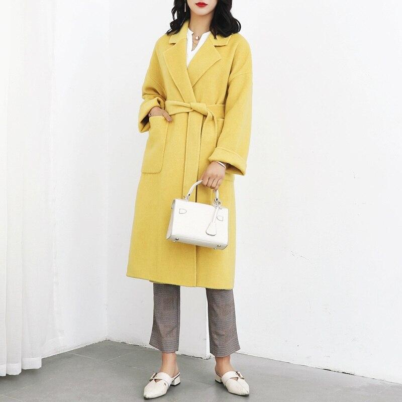 2019 New Spring Coats 100% Wool Double-sided Wool Coat Female Fashion Warm Thick Cloth Coat Belt Yellow Long Women Coat Winter