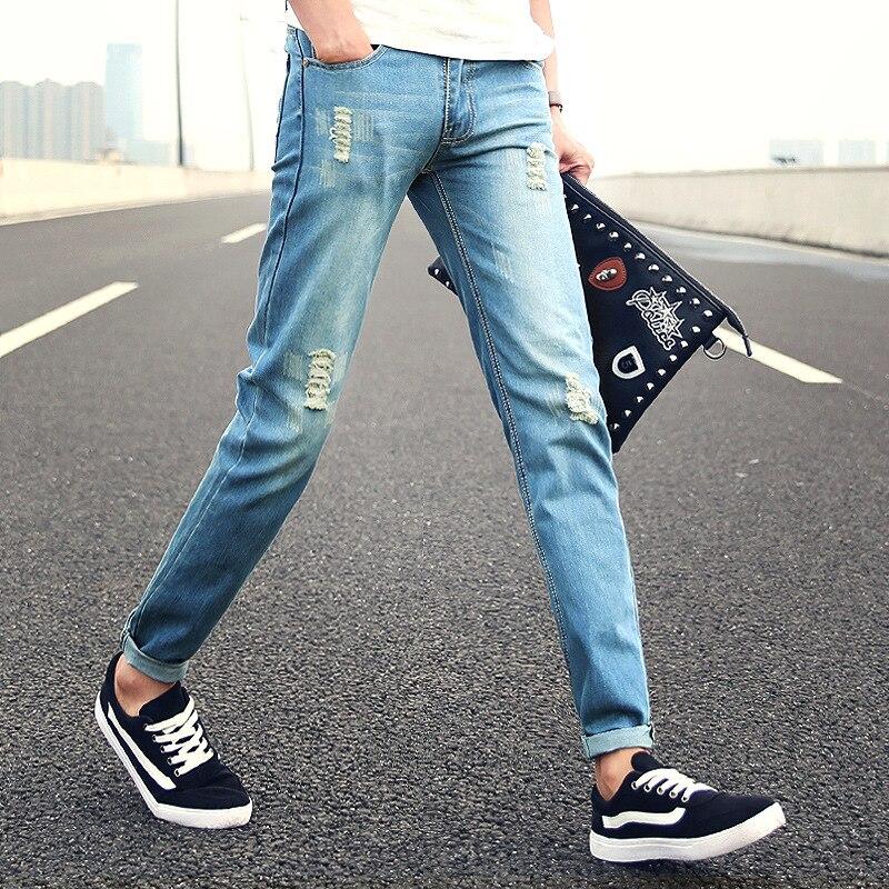 Men's Hole Patch Ripped Jeans Men Slim Fit Patchwork Homme Print Denim Pants Fashion Zipper Pocket Long Mid