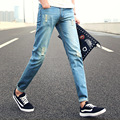 Men's Hole Patch Ripped Jeans Men Slim Fit Patchwork Men Jeans Homme Print Denim Pants Fashion Zipper Pocket Long Mid Jeans