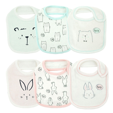 3 Pcs/Set Baby Bibs Cute Cartoon Pattern Toddler Saliva Towel Cotton Fit 0-3 Years Old Infant Burp Cloths Feeding