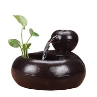 Ceramic Feng Shui Fountain Office Desktop Humidifier Hydroponic Flower Pot Pet Drinking Fountain Water Fountains Home Decoration