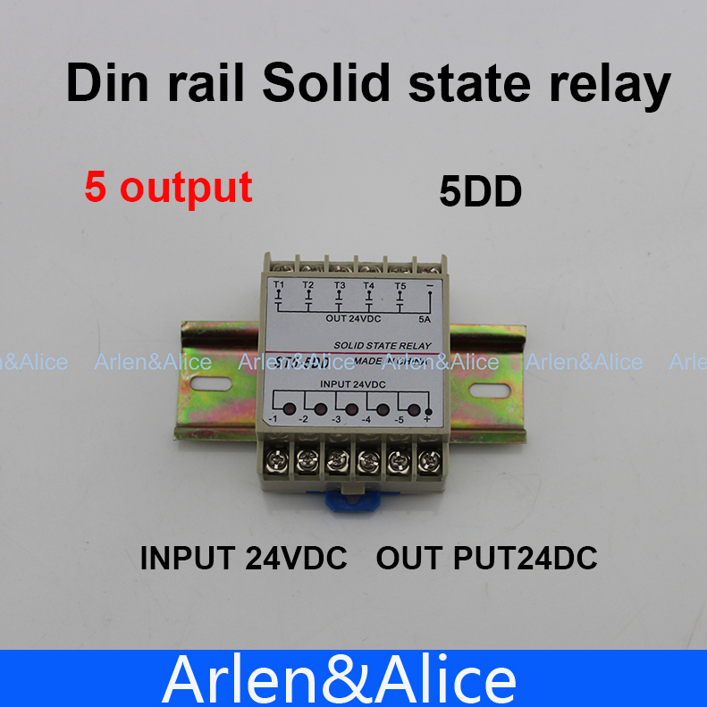 5DD 5 Channel Din rail SSR quintuplicate five input output 24VDC single phase DC solid state relay