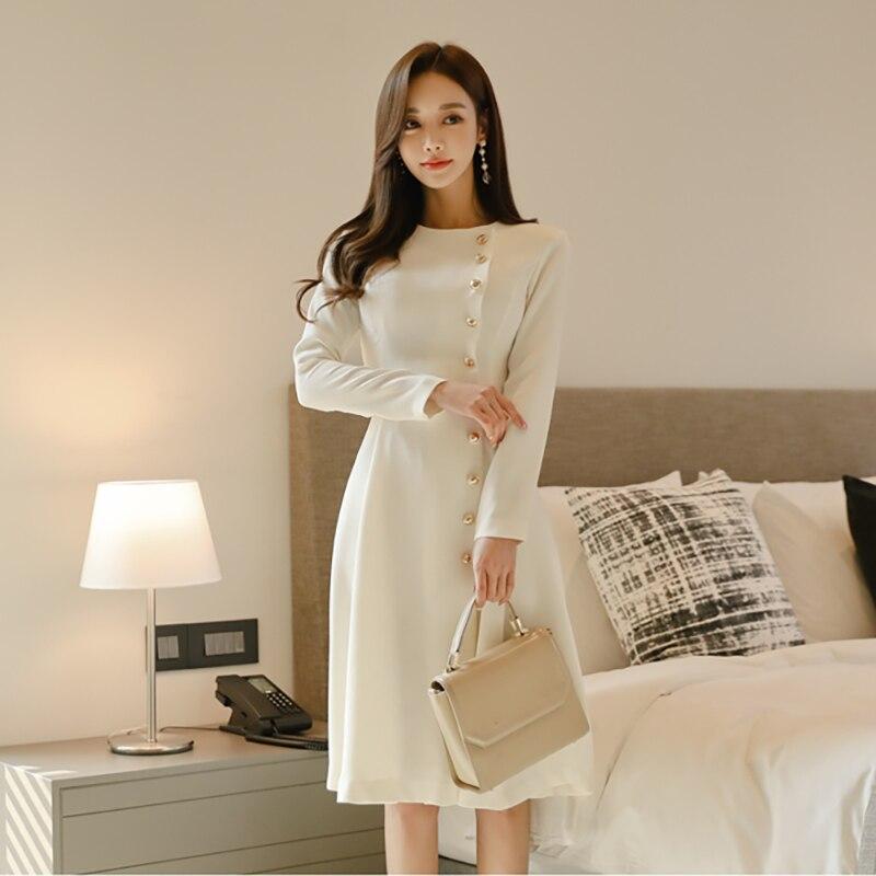 Elegant Dress Women Casual Long Sleeve Dress Office Lady Runway Designers High Fashion Dress 41