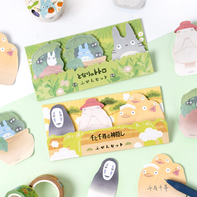 1X 3 Designs 60 Pages Cute Totoro Ghost Memo Pads Sticky Notes Student Stationery School Office Supply