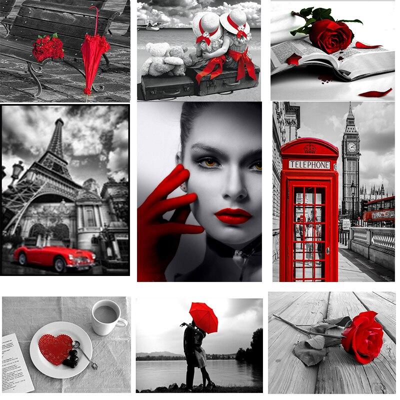 5d diy Полная квадратная Алмазная вышивка красного и черного цветов с ромбовидным рисунком, вышивка крестиком на рисунке, стразы Мозаика Декор XY1