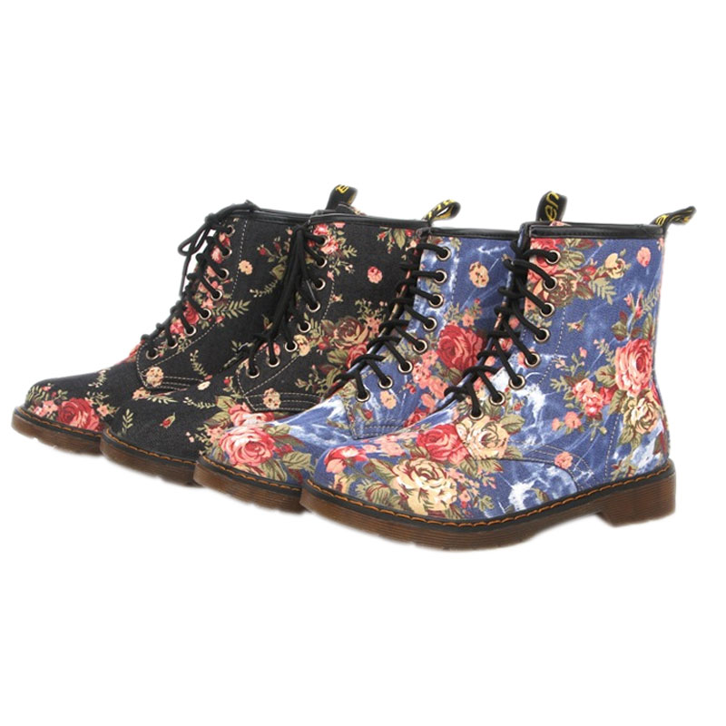 ФОТО Autumn Spring Rubber Flat Martin Boots Women Fashion Lace Up Floral Prints Shoes Motorcycle Boots LXX9
