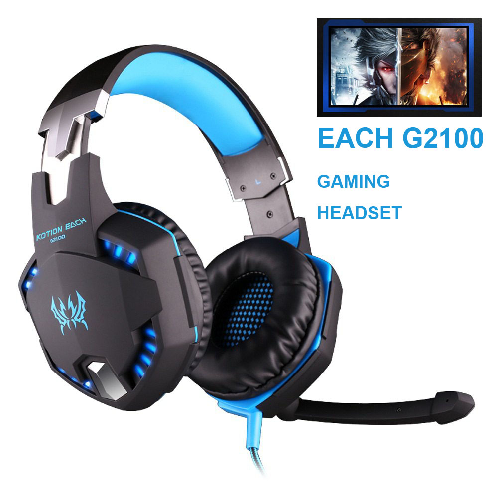 EACH G2100 Professional Gaming Headphone LED Light Game Headset PC Gamer Bass Stereo Noise Isolation Volume Control Microphone each g8200 gaming headphone 7 1 surround usb vibration game headset headband earphone with mic led light for fone pc gamer ps4
