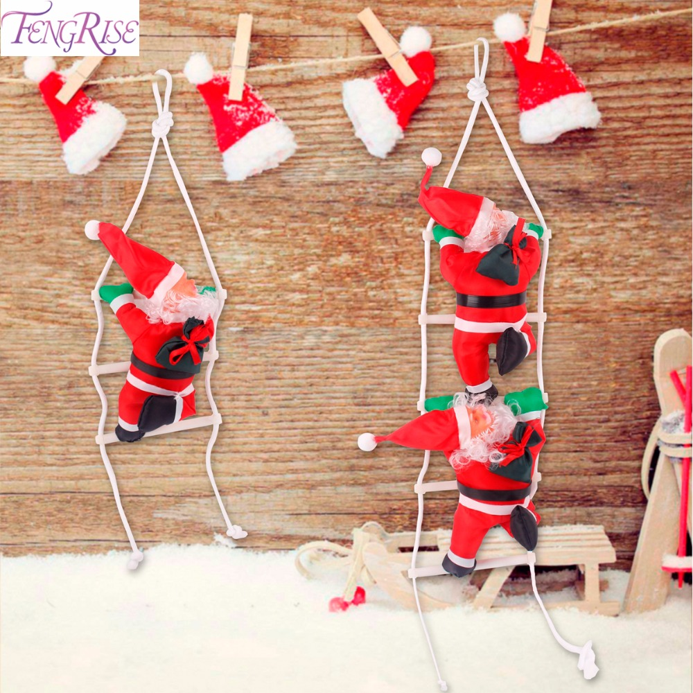 fengrise cute santa claus doll merry christmas decorations for home christmas tree ornaments hanging ladder toy new year gifts in pendant drop ornaments