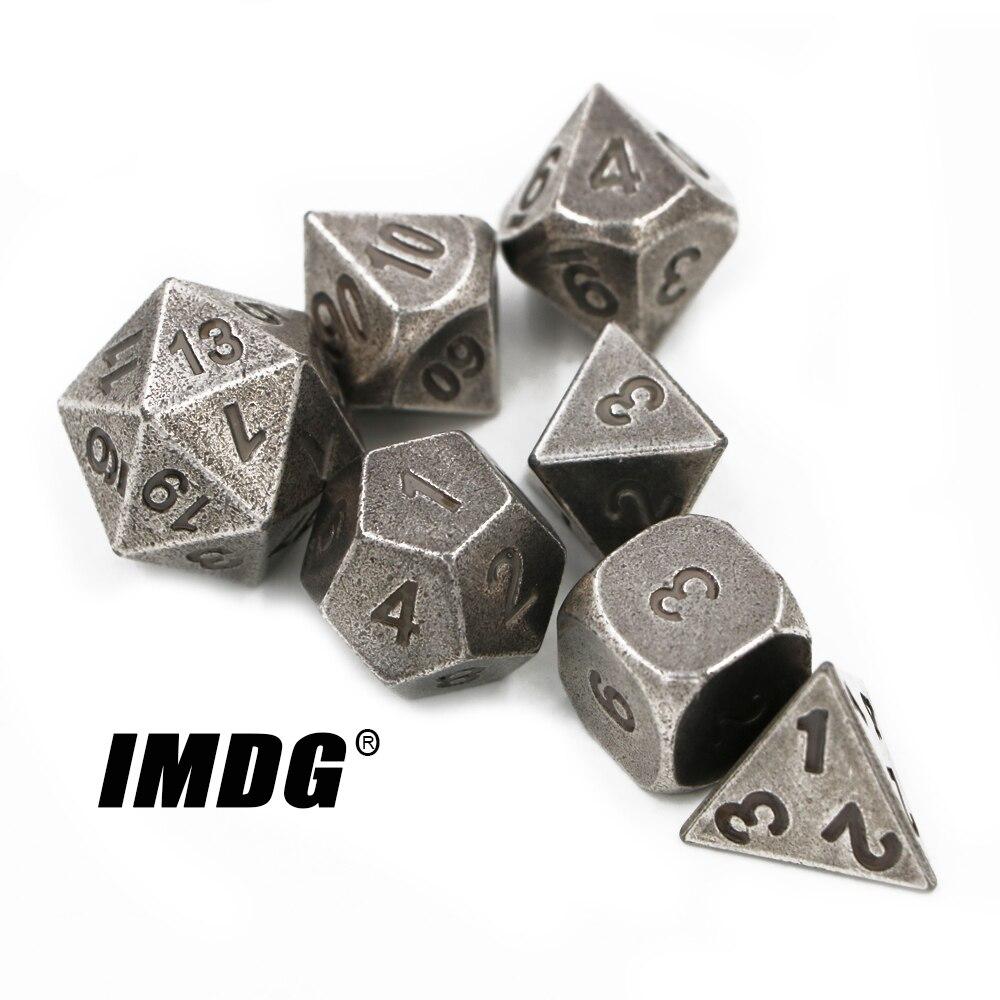 IMDG 7 шт./компл. креативные игральные кости для ролевых игр, многогранные металлические кости DND, разные никелевые цветные цифровые игральные ...
