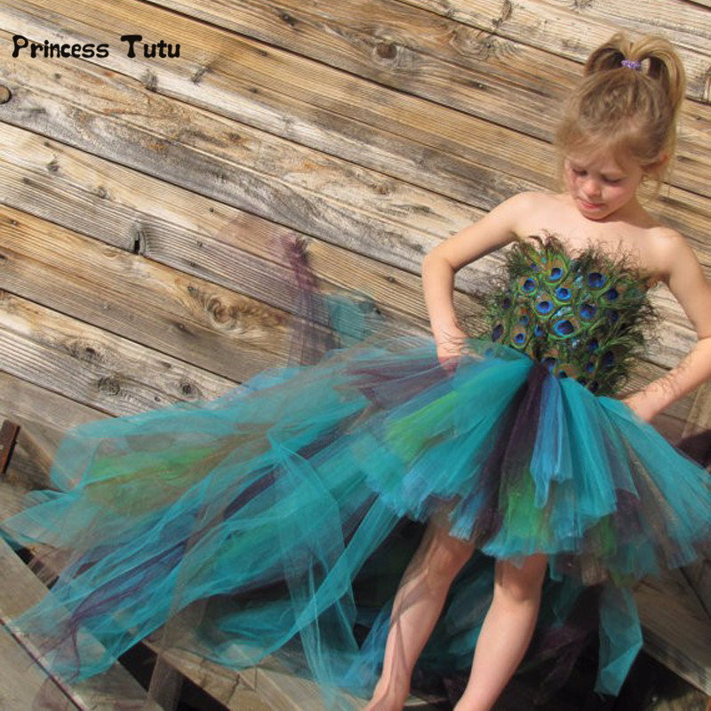 Real Peacock Feathers Girls Tutu Dress Evening Dress Handmade Off Shoulder Kids Girls Gown Party Dress