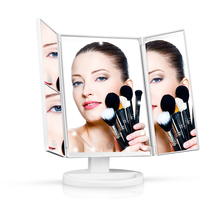 Makeup 21 Led Vanity Mirror with Lights Touch Screen Switch,180 Degree Rotation Dual Power Supply Portable Trifold