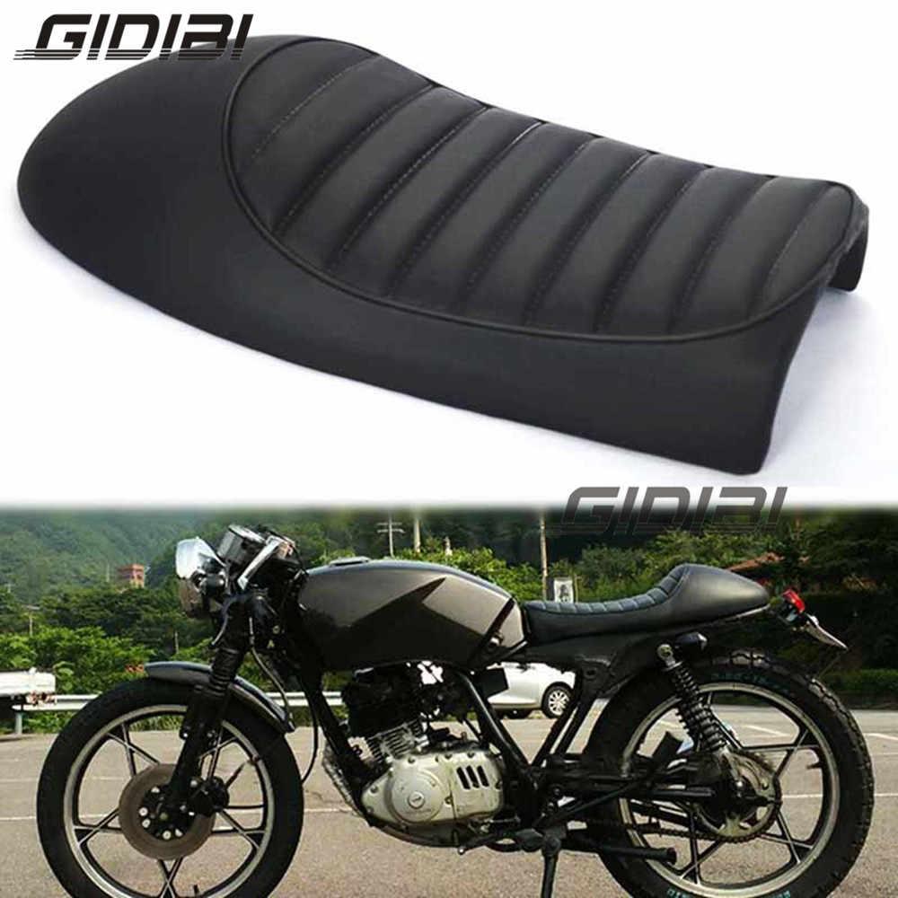 Siyah Vintage Kambur Koltuk Cafe Racer Eyer Cg Gn Cb200 Cb350 Cb400ss Cb500 Cb750 Sr400 Sr500 Xj Xs Motosiklet Retro Koltuk Aliexpress