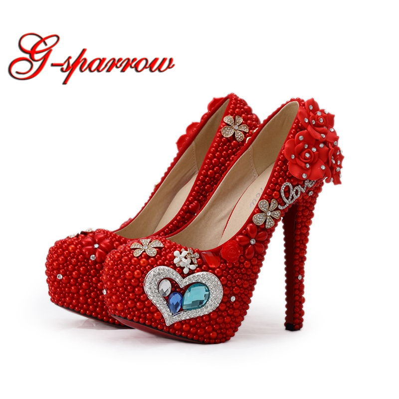 2018 Gorgeous Red Pearl Wedding Bridal Shoes Mother of the Bride Shoes Red Color Woman High Heels with Blue Crystal Plus Size love moments purple crystal shoes woman wedding shoes bride platform gorgeous high heels ladies shoes bridal dress shoes