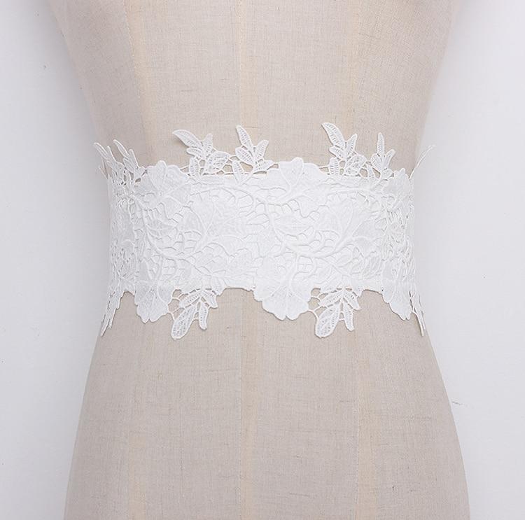 Women's Runway Fashion Elastic Lace Cummerbunds Female Dress Corsets Waistband Belts Decoration Wide Belt R1319