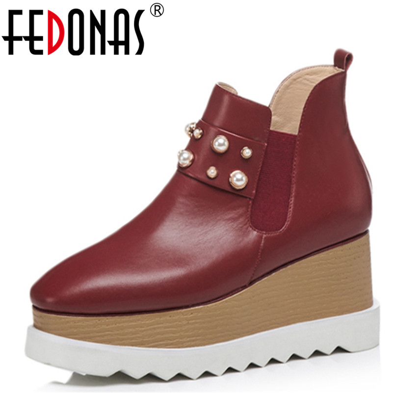 FEDONAS 1Fashion Women Ankle Boots Autumn Winter Warm Genuine Leather Wedges High Heels Shoes Woman Casual Round Toe Basic Boots