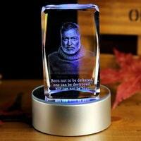 BEST Christmas present limited edition TOP Decor art Ernest Miller Hemingway 3D Crystal Image Decoration