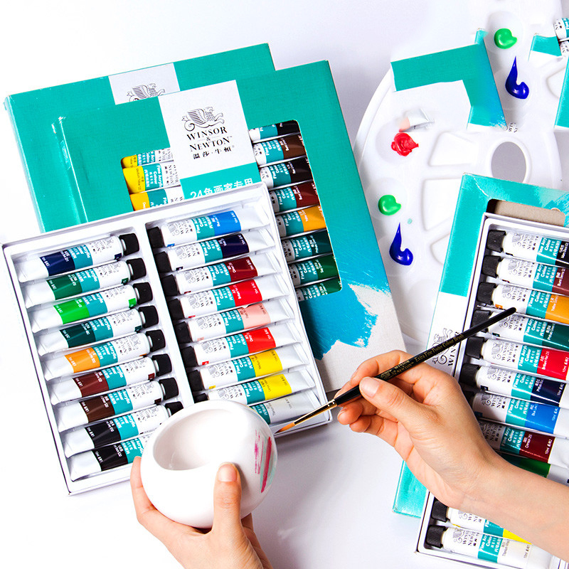 Winsor&Newton 12/18/24 Colors Professional Acrylic Paints High Quality Acrylic Painting Pigment for Artist Painting