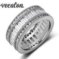 Vecalon Full Princess Cut 20ct AAAAA Zircon Cz Female Wedding Band 10KT White Gold Filled Engagement