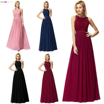Long Burgundy Prom Dresses 2019 Ever Pretty Elegant Beading A Line Pleated Chiffon Lace Formal Party Gowns Vestidos De Fiesta